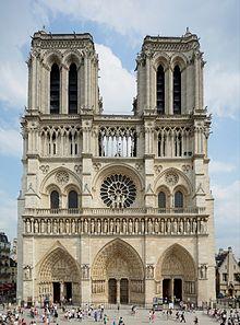 Notre Dame Parijs met centraal het symbool van de cirkel